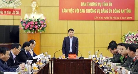 Ban Thường vụ Tỉnh ủy làm việc với Ban Thường vụ Đảng ủy Công an tỉnh Lào Cai