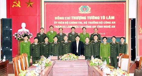Bộ trưởng Tô Lâm làm việc tại Công an Nghệ An