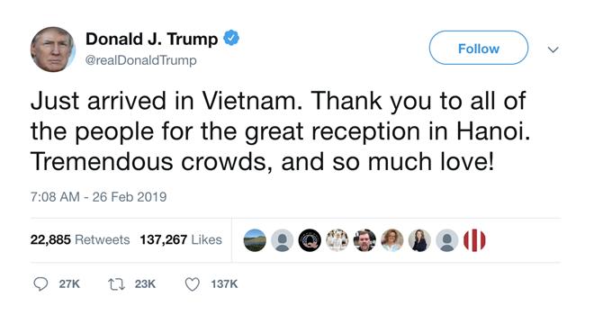 Đoạn chia sẻ của Tổng thống Trump trên Twitter.