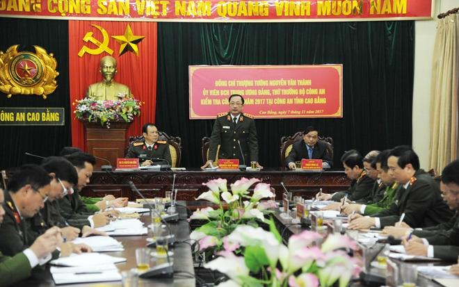 Thứ trưởng Nguyễn Văn Thành kiểm tra công tác tại Công an tỉnh Cao Bằng