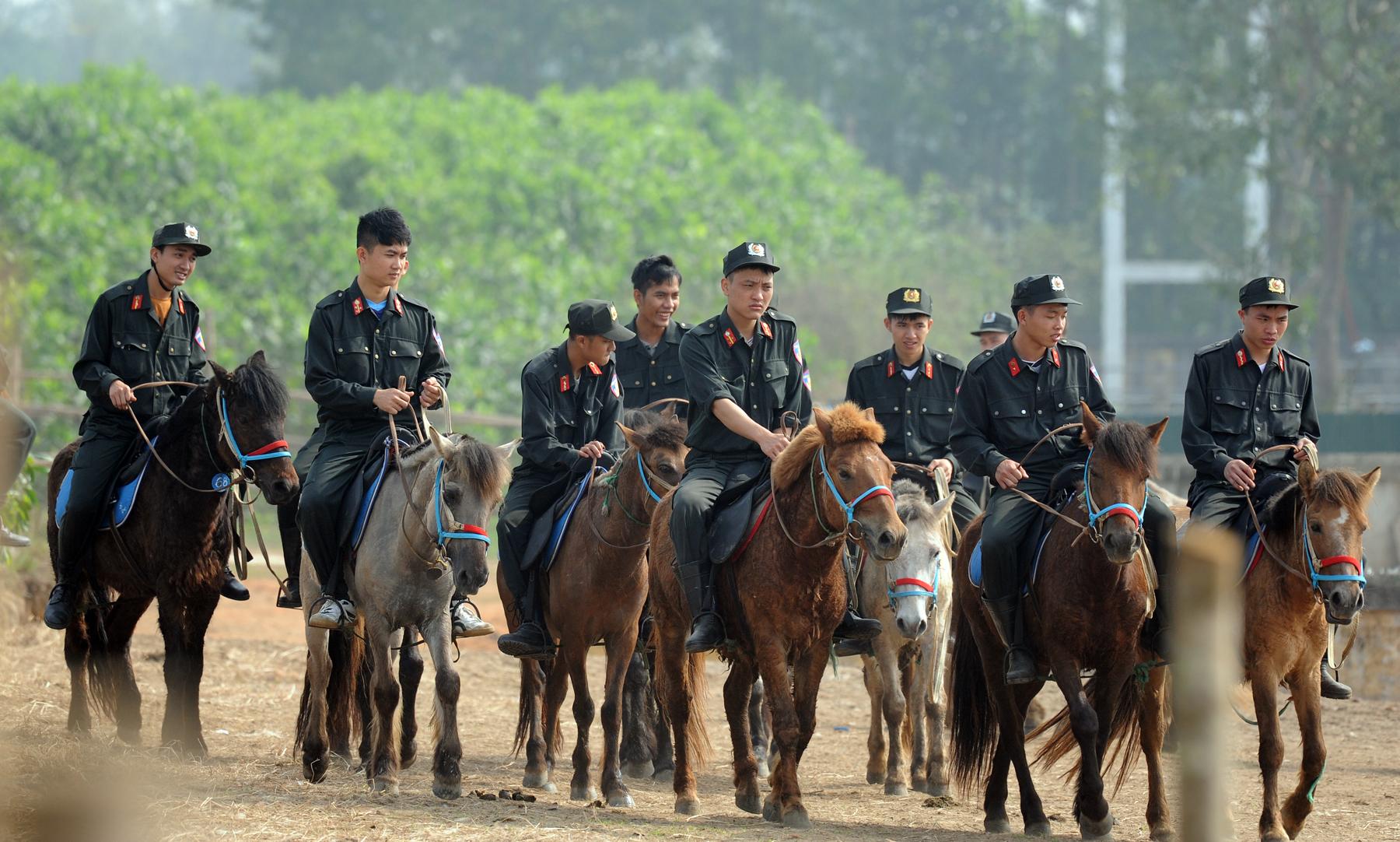 CSCĐ Kỵ binh thuần dưỡng ngựa nơi thao trường
